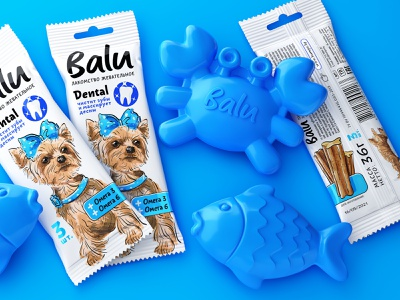 BALU — CHEWY TREAT FOR DOGS dog food flow pack dog food character label illustration brand logo trademark packaging design packaging design branding