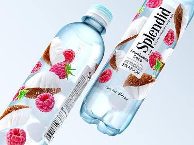 SPLENDID — flavored drinks coconut refreshing drink soft drink beverage drink water bottle plastic bottle trade mark logo label design label packaging design packaging brand design raspberries