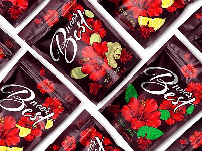 NOOR BEST — HIBISCUS DRINKS lemon mint ginger tea drinks hibiscus beverages vector illustration brand logo trademark packaging design packaging design branding
