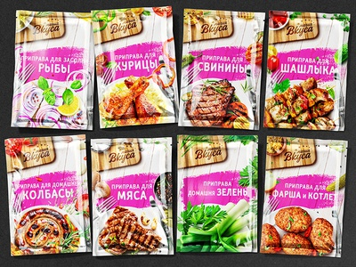 MAGIYA VKUSA — SPICES seasoning condiments meats chicken dishes illustration brand logo trademark packaging design packaging design branding