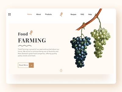 Food farming typogaphy icon landing page clean illustration branding typography logo design ux uiux ui minimal fitness health responsive website ios android food