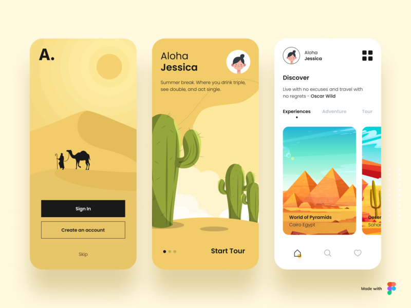 Aloha Desert vector ux ui typography trip travel app travel agency tourism tour mobile app minimal ios illustration icons design cards booking app app design app adventure