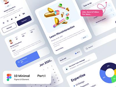 Figma Elements - Part I ux logo flat design app website after effect figma blog calendar elements chart profile minimal card clean branding illustration design cards ui