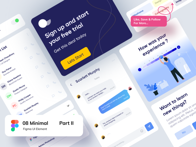 Figma Elements - Part II figma color gredient illustration branding logo icon typography toggle button app messaging chat dropdown rating contact cards minimal signup