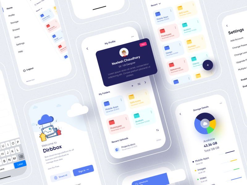 Dribbox - Online Cloud Storage file manager menu design profile freebies figma folder mobile online storage cloud typography cards vector ui login illustration icon design branding app