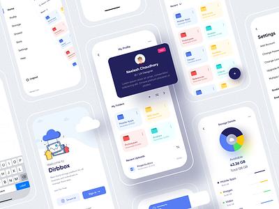 Dribbox - Online Cloud Storage file manager menu design profile freebies figma folder mobile online storage cloud typography cards vector ui login illustration icon design branding app