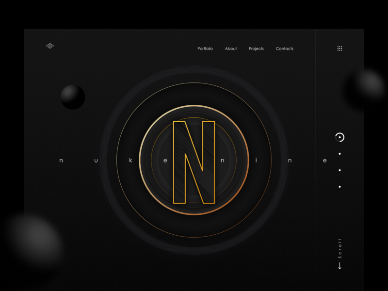 Nuke N Nine - Design Agency Landing Page neon colors banner hero section cards vector typography icons menu letter 3d illustration responsive black branding agency logo agency design ui design ui minimal