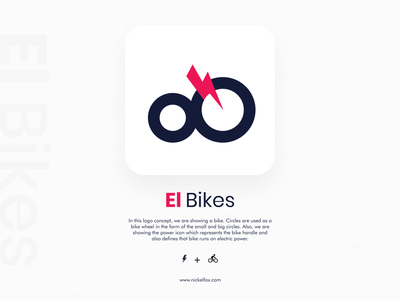 El Bikes - Logo Concept android ios branding design brand identity concept bike power electric colors logo illustration app concept branding icon typography ux cards minimal design ui
