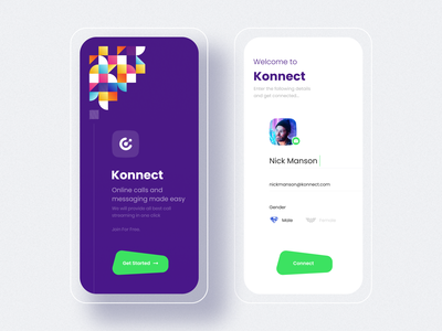 Connect - Online Call and Chat App profile gender signup login color video chat video call chatbot chat app calling app online ui cards app minimal branding logo typography illustration design
