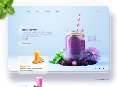 Smoothiely - Food and Beverage Webiste popular online food order foodie landing page menu colors presentation summer drinks juice website ux minimal branding icon typography cards design ui food and drink
