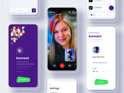 Connect - Online Call and Chat App color clean app ui video chat video call signup profile online minimal gender calling app chatbot chat app typography cards design illustration logo branding