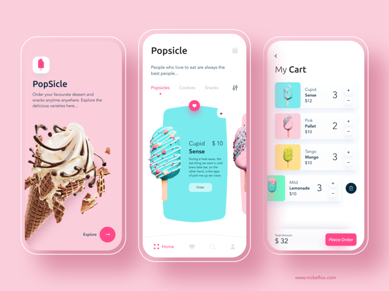Popsicle - Online food delivery ecommerce login icecream cart menubar online shopping food app delivery food online clean ios app minimal logo branding typography cards design ui