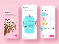 Popsicle - Online food delivery ecommerce login icecream cart menubar online shopping food app delivery food online clean ios app minimal logo branding typography cards design ui