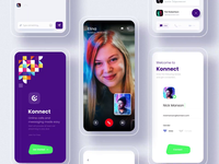 Connect - Online Call and Chat App signup profile gender calling app menu video calling video online chat chat clean illustration logo branding app typography cards minimal design dailyui ui