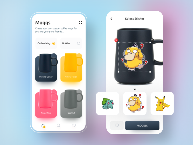 Muggs - Custom Mugs Ecommerce App navigation bar colors dailyui shopping app food and drink menu stickers cartoon pokemon coffee clean icon branding app ui typography cards minimal design ecommerce