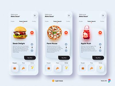 Neumorphism - Food App Design burger pizza dark mode 3d ux menu ios icon food app food uidesign dailyui design typography cards minimal branding app ui design neomorphism