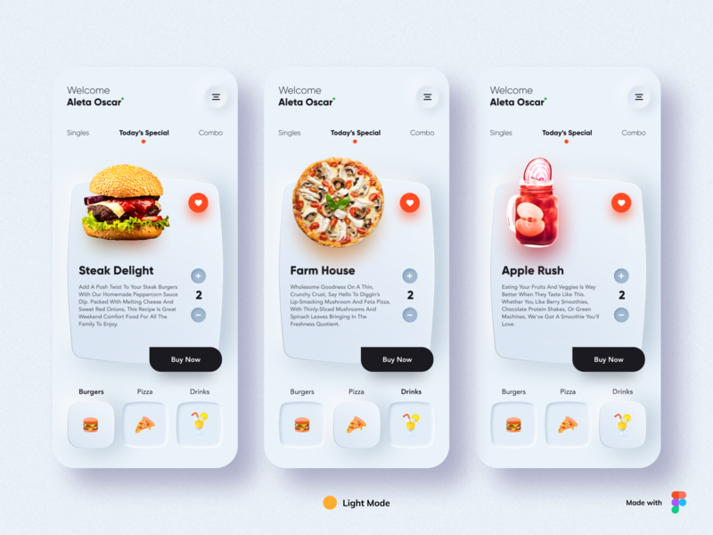 Neumorphism - Food App Design burger pizza dark mode 3d ux menu ios icon food app food uidesign dailyui design typography cards minimal branding app ui design neomorphism