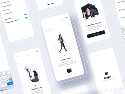Logis Onboarding - Logistic Service App online onboarding ui freight cargo ship transportation logo black ui product design home delivery shipping ios typography branding illustration app design minimal logistic onboarding
