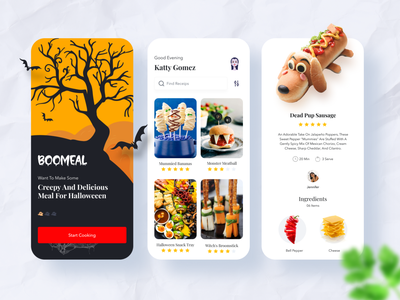 Boomeal - Food Recipe App mobile app spooky menu dailyui minimal design logo illustration halloween design halloween food recipe font typography ios clean cards branding app food app food