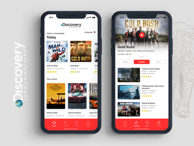 Discovery Channel App ios minimal illustration web icon website branding national geographic cards typography vector logo app discovery discovery channel broadcast animal ux ui debut