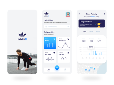 Adidas Fit - A Fitness App illustration profile android map gradient sports app logo ios icon cards ux ui design app concept health adidas originals adidas fitness fitness app