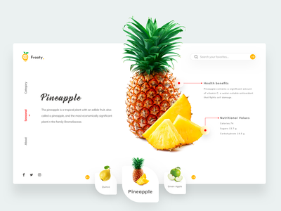 Frooty information social icons web design interaction navigation fitness health ui design branding typography minimal user interface icon website fruits cards design ui  ux logo app concept