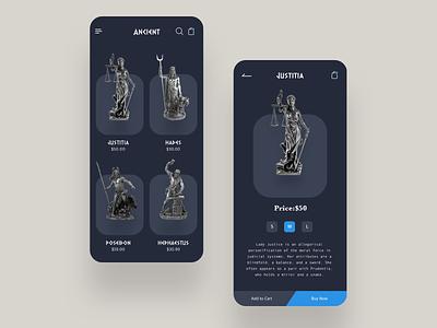 Ancient clean potrait sketch symbol android shopping buy sculpture applicaiton ios ui icon typography minimal logo design app ux cards app concept