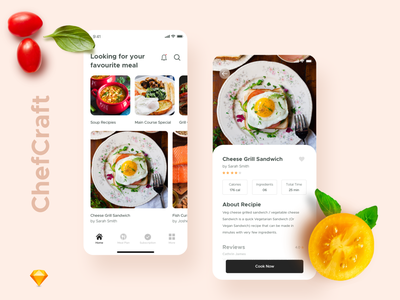 ChefCraft food colors interaction interface mordern delivery sketch ui food app mobile web typography ios minimal icon design app ux cards app concept