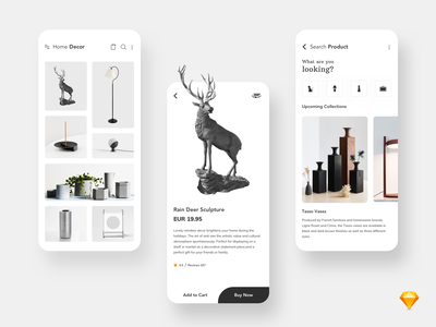 Home Decor search bar decor responsive mobile clean ecommerce shopping product elegent logo typography ios icon design app ui minimal app concept ux cards