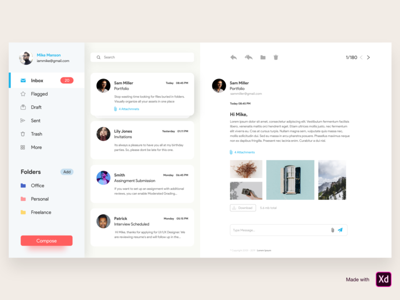 Mailbox dashboard adobe xd mail product design clean messages listing email email design mailing list mailbox ui design ux web app icon typography minimal cards