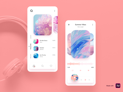 Q Music - Music App Design illustraion branding abstract simple freebies adobe xd music app ui icons music app music clean animation logo ios typography design ui minimal ux cards