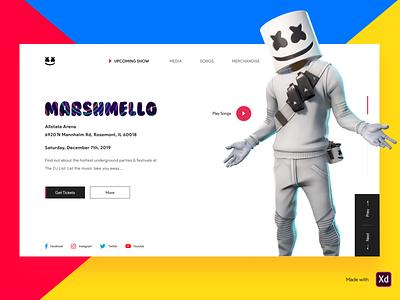 Marshmello marshmello colors responsive design website event clean adobe xd art music music app logo ios icon app app concept typography design ui minimal ux