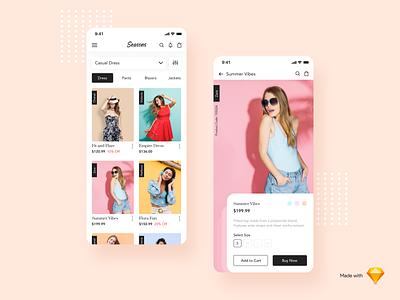 Seasons - A Fashion App freebies responsive mobile app sketch online shopping fashion app colors shopping app ecommerce branding logo ios icon app typography design ui minimal cards ux