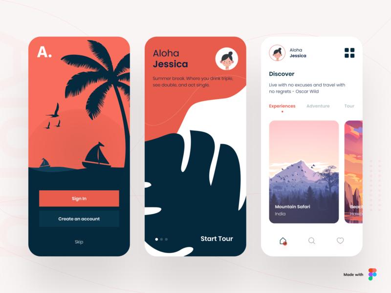 Aloha - Travel App adventure booking app tourism tour vector travel agency trip mobile app illustraion travel app ios icon app app concept typography design ux ui minimal cards