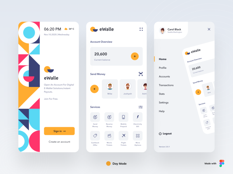 eWalle - Portable Wallet transaction credit card debit card payment online banking banking app banking app icon illustration branding logo app concept typography minimal cards design ui design ux ui