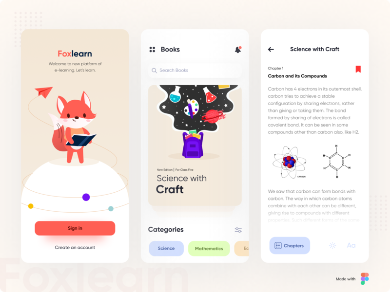 Foxlearn reading app login screen fox typogaphy product learning android app education ebook learning app illustration branding ios icon typography design ui minimal cards ux