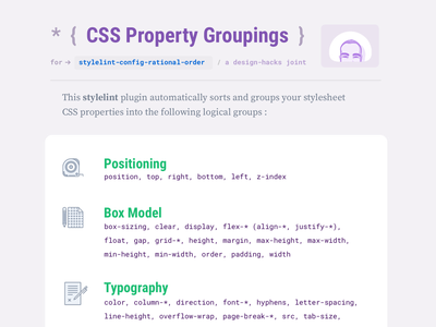 A PDF cheat-sheet for Stylelint's Config Rational Order plugin developer development code stylesheets pdf free download reference cheatsheet css