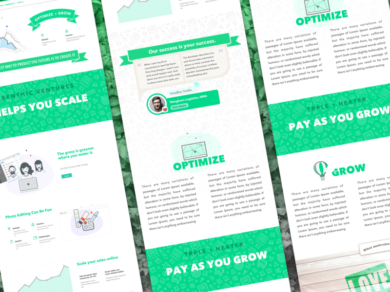 Web UI - Landing Page #growth #green cards homepage ui green growth landing page web