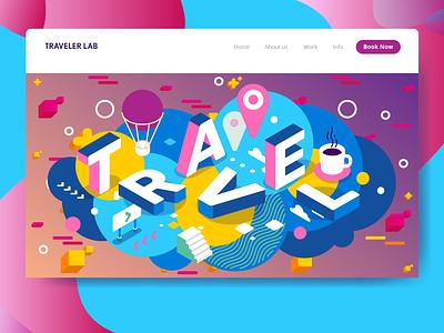 Traveler Lab Landing Page cta branding web vector design creative direction ux logo illustration ui