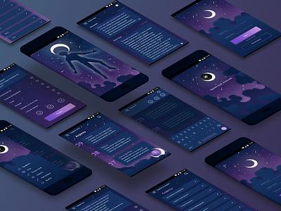 Дневник сновидений /  Dream diary psychology dreams web illustration vector diary android app design