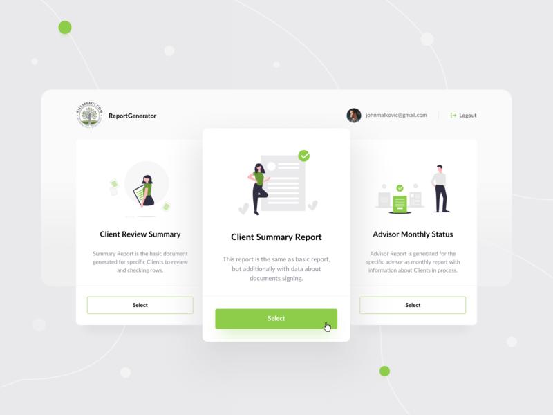 ReportGenerator - UI Dashboard iconsets iconset web illustration design designer ux app ui designs green