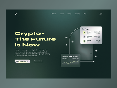 Crypto - Landing page crypto landing page token gradient figma blockchain plat investing uiux bitcoin finance trading cryptocurrency nft online design web ui fintech arounda