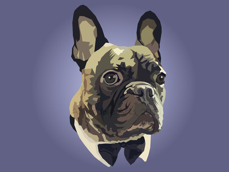 Loki the French Bulldog - Geometric graphic design poly portrait loki geometric french bulldog french dapper bulldog bow tie