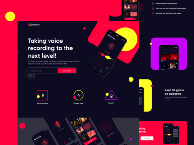 AnyVoice Landing page red dark ui dark app dark theme landing page webdesign freelance dribbble best shot dribbble uiux figma ux uidesign dailyui ui design