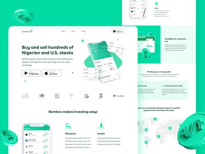 Invest Bamboo Landing Page Redesign investor invest dribbble best shot dribbble uiux web design web illustration figma ux uidesign dailyui ui design