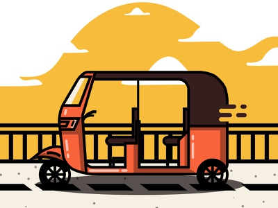 Tricycle Illustration design freelance vector illustration