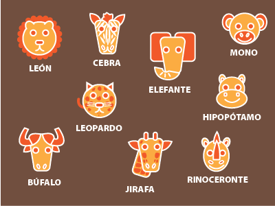 La Sabana creatures zoo icons stickers fun kids children illustration animals