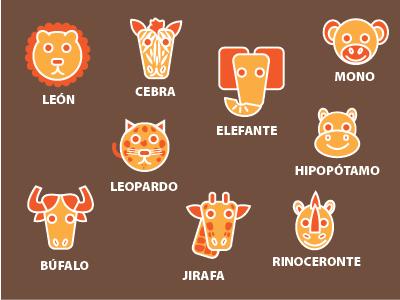 La Sabana creatures zoo icons stickers fun kids children illustration animals