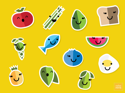 YummyHive I healthy eating healthy food protein veggies fruit creatures design flat kids children nutrition food app stickers icons illustration