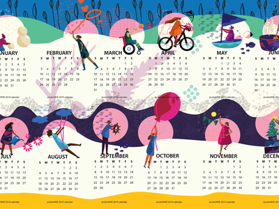 colorHIVE calendar 2019 inspiration calendar accessibility biking active humans people men diversity woman mindfulness fun design children kids flat color icons illustration